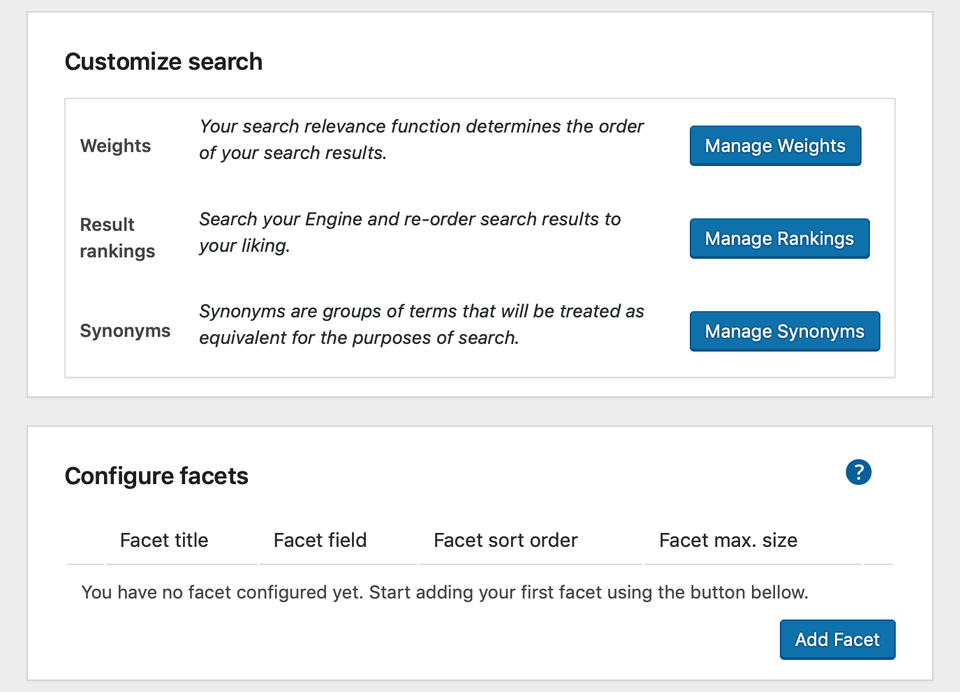 The plugin has a set of links to the Site Search dashboard