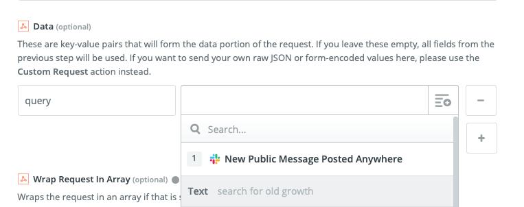 Uso de los datos de muestra del mensaje de Slack del paso1