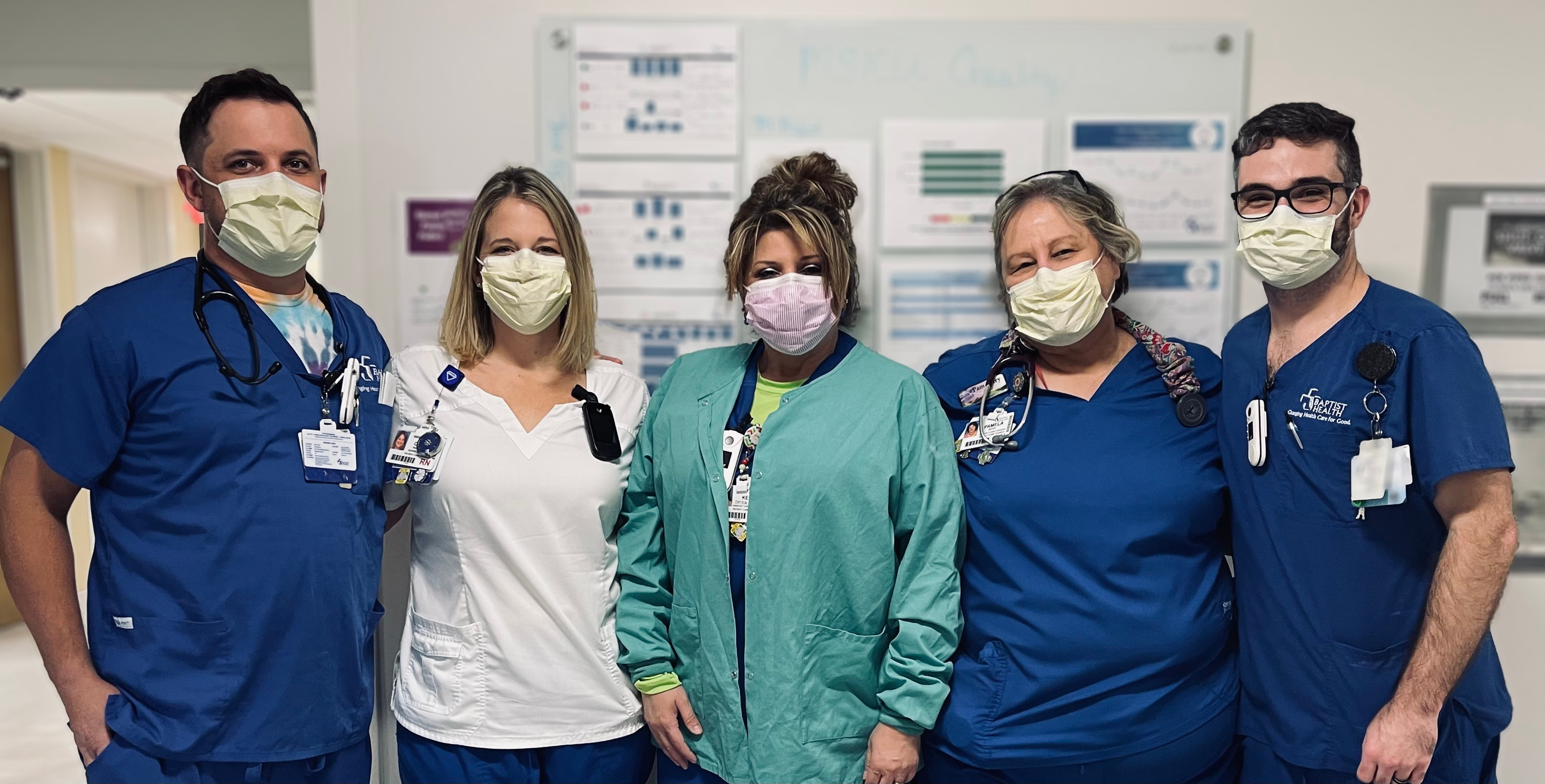 Caryn Parkhurst (second from left) and her ICU colleagues have all been vaccinated against the coronavirus.