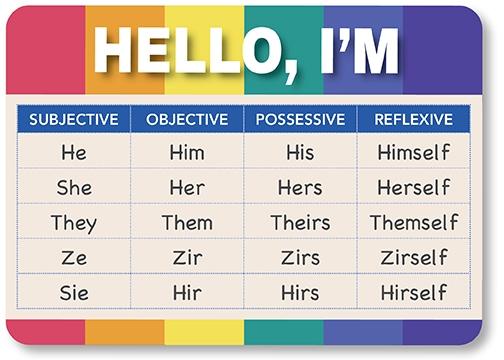 pronouns chart