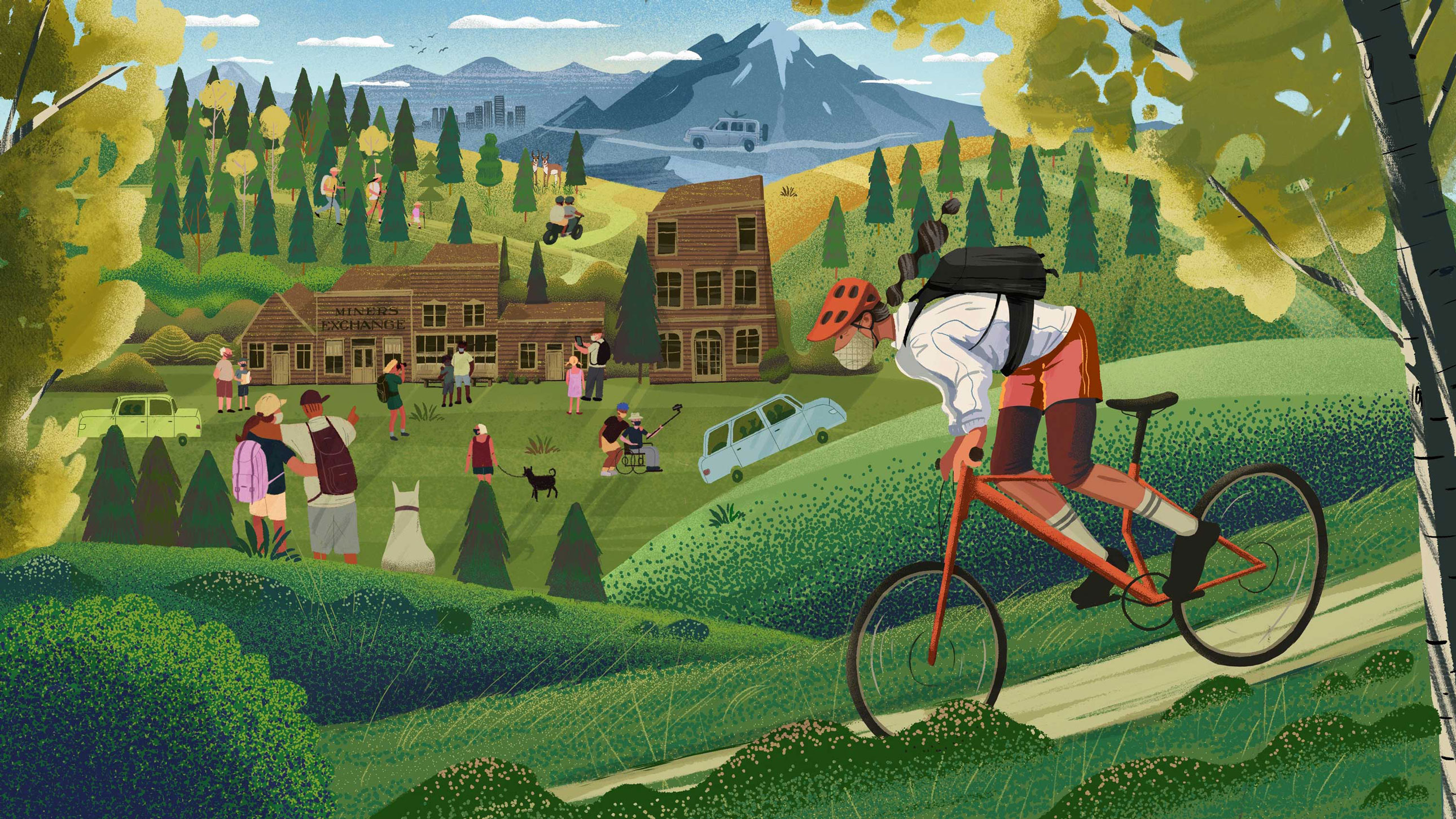 An illustration of a woman biking down a hill. In the background, people are walking through a ghost down, hiking through a forest, and driving up a mountain.