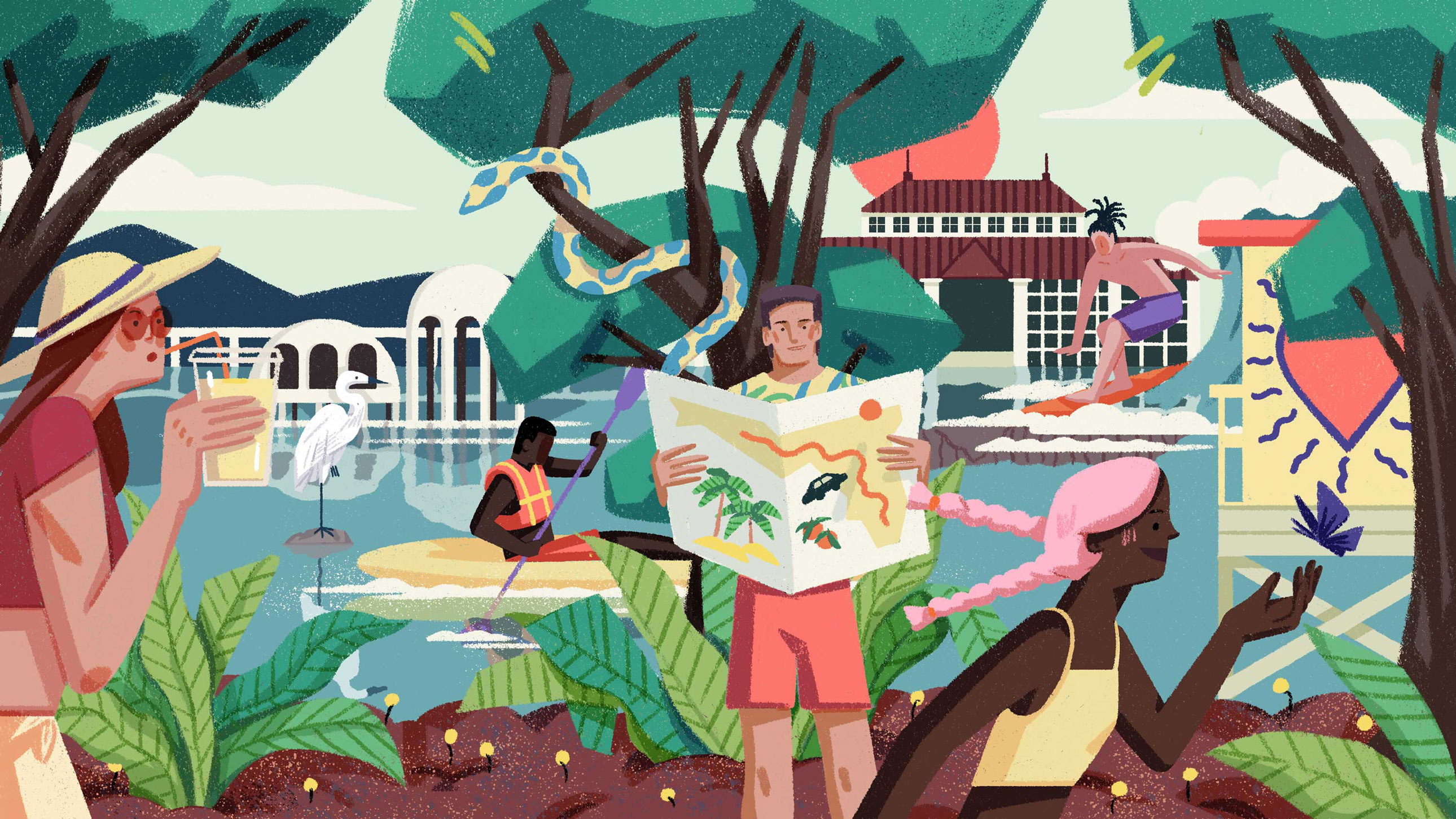 An illustration of several places and things to do in south Florida: a man kayaks, a girl catches a butterfly, another person surfs in the background.