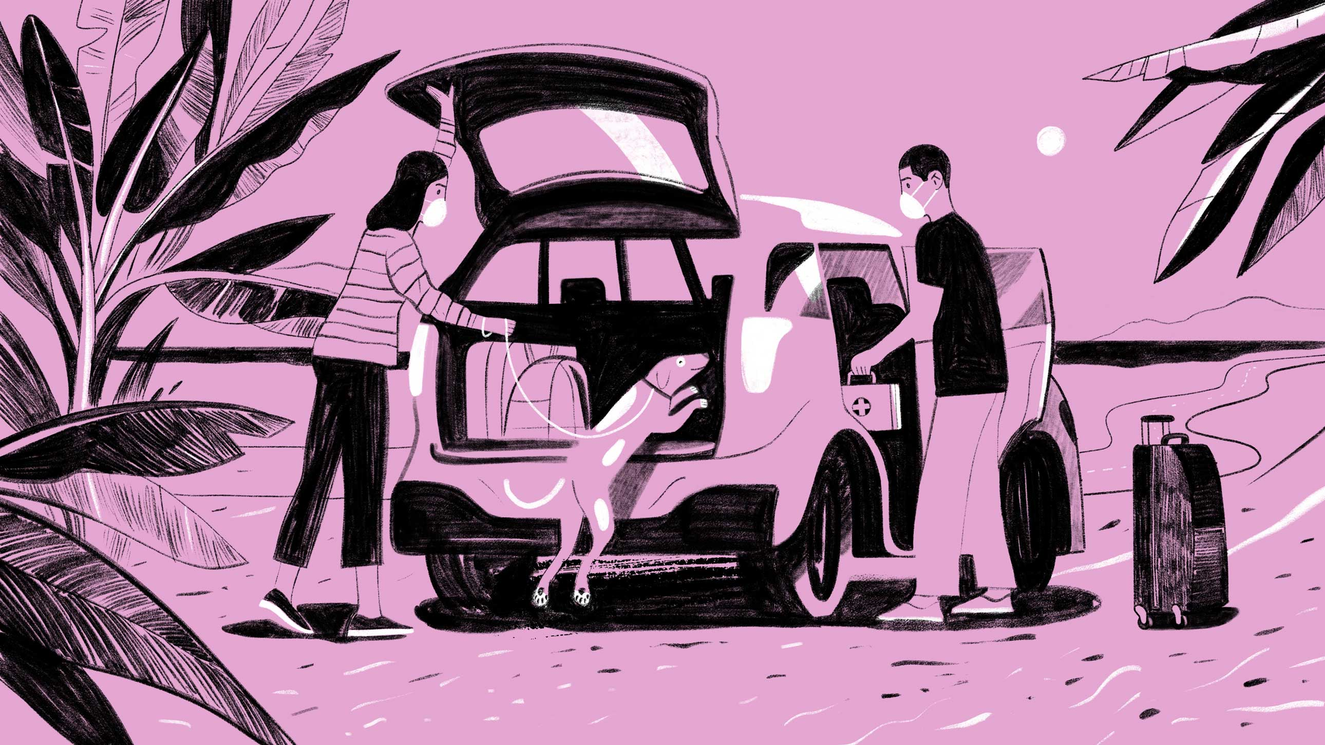 An illustration of a man and a woman wearing medical masks. They are putting luggage and a first aid kit into their car, as their dog jumps into the back of the open tailgate.