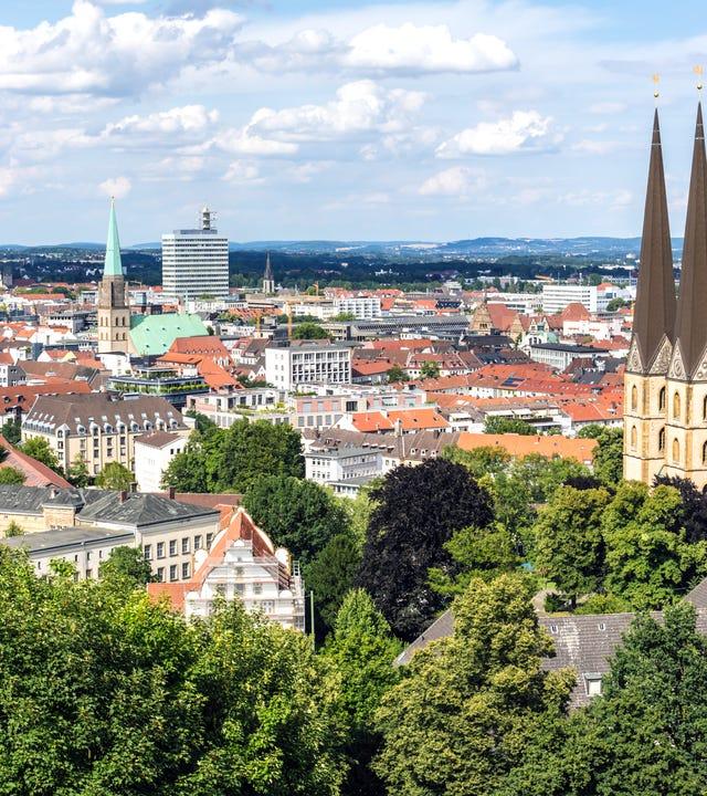 Blick auf die Skyline in Bielefeld